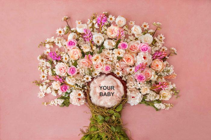 My baby in Flower Tree | Full Baby Photography Backdrop - Littleaarchi