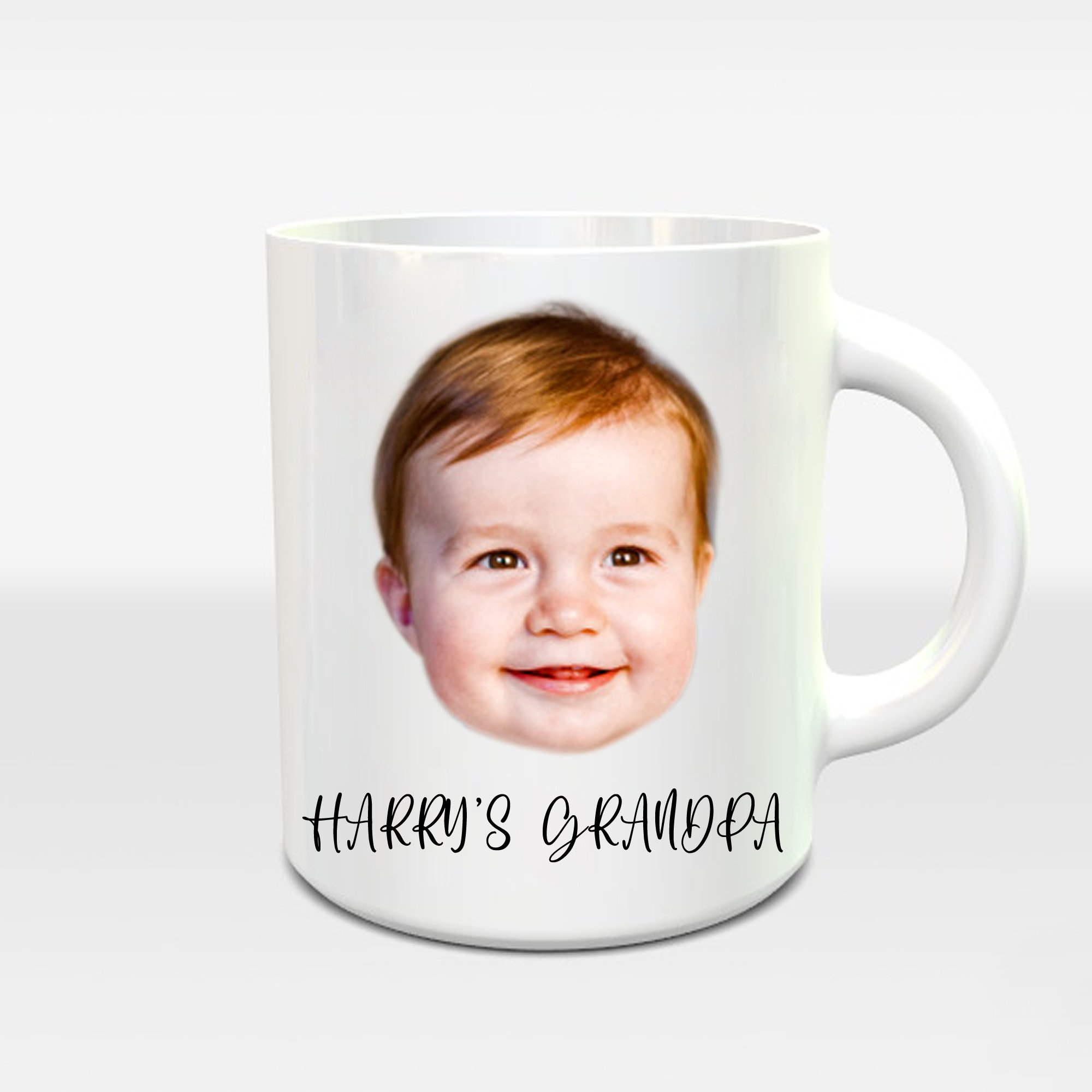 Baby Face and Text Mug, Baby Gift Coffee Cup, Mug Personalised Xmas Gift for GrandFather, Custom Birthday Gift for GrandPa - Littleaarchi
