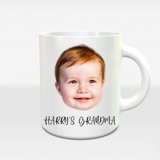 Baby Face and Text Mug, Baby Gift Coffee Cup, Mug Personalised Xmas Gift for GrandMother, Custom Birthday Gift for Grandma - Littleaarchi