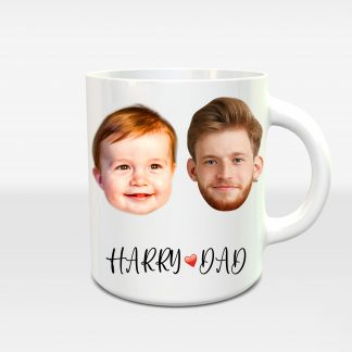 Baby Loves Dad: Two Face-Text Mug, Custom Gift Coffee Mug, Personalised Birthday Gift for Papa, Xmas Gift for Dad, gift for Father - Littleaarchi