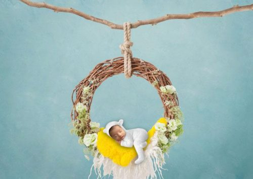 On the swing yellow | Baby face Photography Photoshoot - Littleaarchi