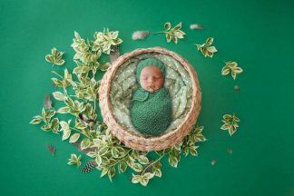 Green leaf Basket | Newborn Baby Photography - Littleaarchi