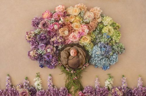 Baby n Gorgeous colorful flower tree | Newborn Baby Photography - Littleaarchi
