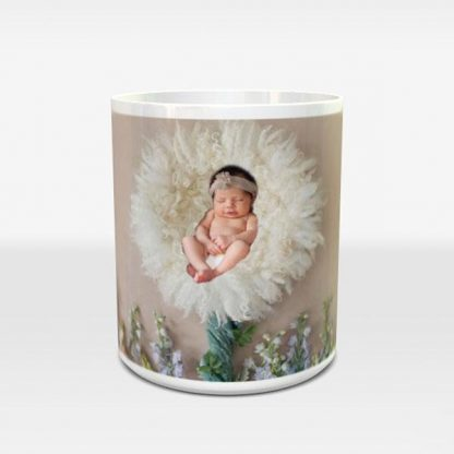 Elegant flowers | Baby / Newborn Personalized Photo Mug, Custom Coffee Cup | Gift - Littleaarchi