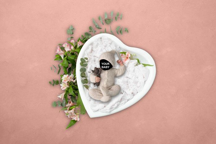 My lovely heart | Baby Face Photography background - Littleaarchi